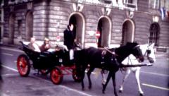 8mm old film Vienna, Austria horse and carriage Hofburg Palace vintage historic  Stock Footage