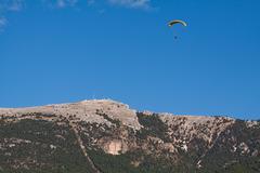 paraglider at cazorla mountain, spain - stock photo