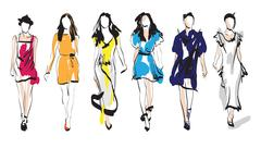 Fashion models. sketch. Stock Illustration