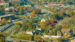 Panning Left to Traffic on Asheville's Interstate 240 and Surroundings Stock Footage