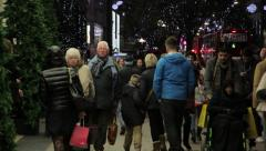Shopping 5 London Night Christmas Stock Footage