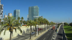 T/L Spain Catalonia Barcelona traffic Ronda Litoral expressway at coast Stock Footage