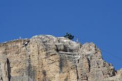 Stock Photo of arrival of the cable car on mount pordoio in val di fassa