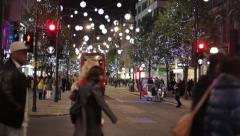 Shopping 3 London Christmas Night Traffic Stock Footage