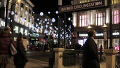 Shopping 2 London Christmas Night Oxford Circus Tube Stock Footage