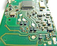 Motherboard technology with integrated circuit chips Stock Photos