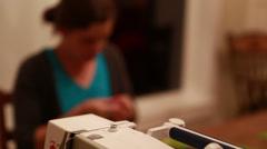 female creating a christmas advent calendar - stock footage