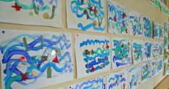 Stock Photo of colorful children's drawings of a nursery school
