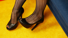 Woman's leg in high-heeled shoes episode 1 Stock Footage