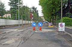 Signs in the street during a site for the asphalting Stock Photos
