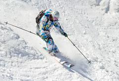 Skier on the bumpy slope Stock Photos