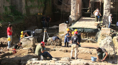 Archaeology dig in Rome 2 Stock Footage