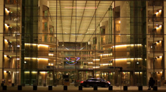 Berlin government district Modern building made of sleal and glass at night Stock Footage