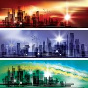 City landscape header set Stock Illustration