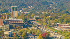 Asheville, NC Edge of Downtown Adjacent to Interstate 240 Stock Footage