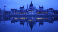 Early Morning Budapest Parliament Building Stock Footage