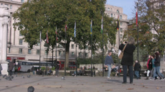 Tourists walking near Marble Arch in Central London Stock Footage