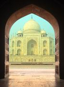 View on taj mahal mausoleum from arch Stock Photos