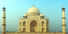 taj mahal - famous mausoleum in india - stock photo