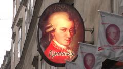 Mozart in Vienna - famous Amadeus chocolates symbol Stock Footage