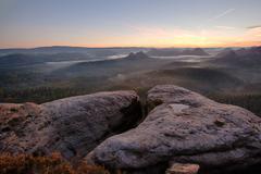 sunrise from Kleiner Winterberg, Saxon Switzerland - stock photo