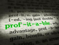 Stock Photo of Dictionary - Profitable - Green On BG