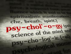 Dictionary - Psychology - Red On BG - stock photo