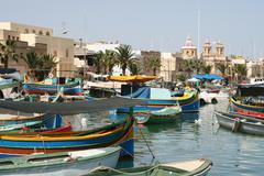 fishing harbor of marsaxlokk, malta - stock photo