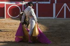 bullfighter with the cape in the bullfight, spain - stock photo