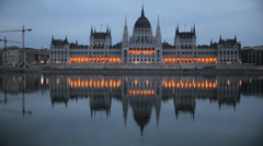 Hungarian Parliament Early Morning Stock Footage