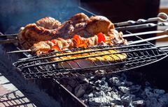 Appetizing fresh meat shish kebab (shashlik) prepared on a grill wood coal, o Stock Photos