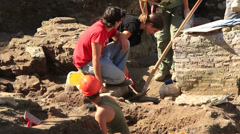 Archaeology dig in Rome 4 Stock Footage