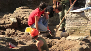 Stock Video Footage of Archaeology dig in Rome 4