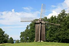 historic windmill at rocca al mare, tallinn, estonia - stock photo
