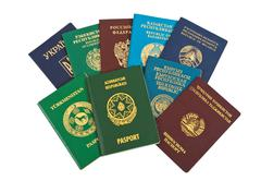 Foreign passports isolated on white  background Stock Photos