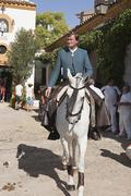 fermin bohorquez, bullfighter on horseback spanish, linares, jaen province, s - stock photo