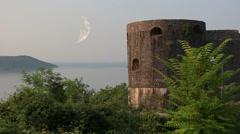 Herceg Novi, tower, moon Stock Footage