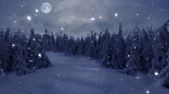 New Year,christmas,3d winter background and moon Stock Footage
