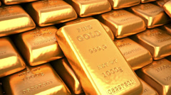 Gold bars in bank. Finance 3d animation - stock footage