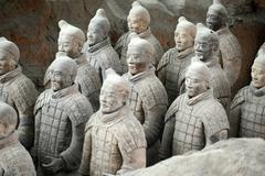 terracotta warriors in xian, china - stock photo