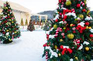 Stock Photo of christmas tree with decoration and snow