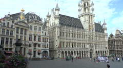 Pan across Grand Place, Brussels, Belgium. Stock Footage