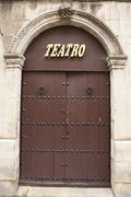 Main door of the theater of Ubeda, Spain Stock Photos