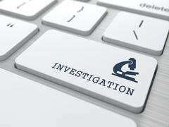 White Keyboard with Investigation Button. - stock illustration