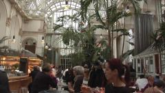 Inside the Palmenhaus Cafe ( palm House Cafe), Vienna Stock Footage