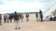 Stock Video Footage of President Obama Arrives at Tinker AFB to View Tornado Damaged Area