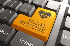 Keyboard Social Medicine Orange Button. - stock illustration