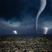 tornado, lightning, farmland - stock photo