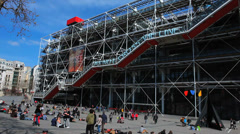 Centre Pompidou 2 - Paris, France. High-tech architecture. Design Stock Footage