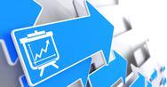 Flipchart Icon on Blue Arrow. Stock Illustration